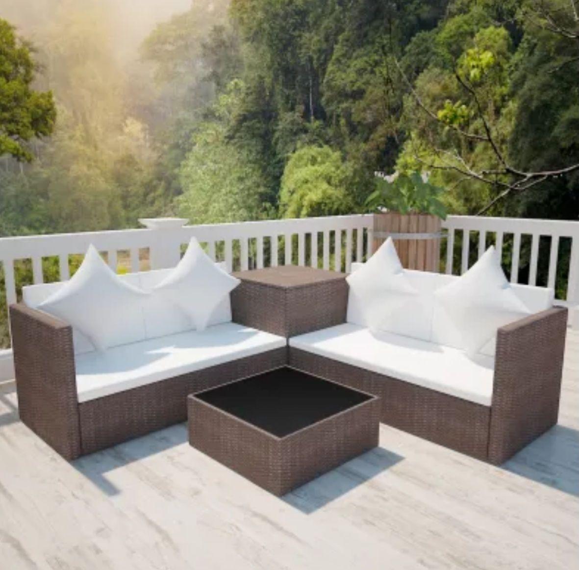 EBay vidaXL Garten-Sofagarnitur 14-tlg. Poly Rattan Braun