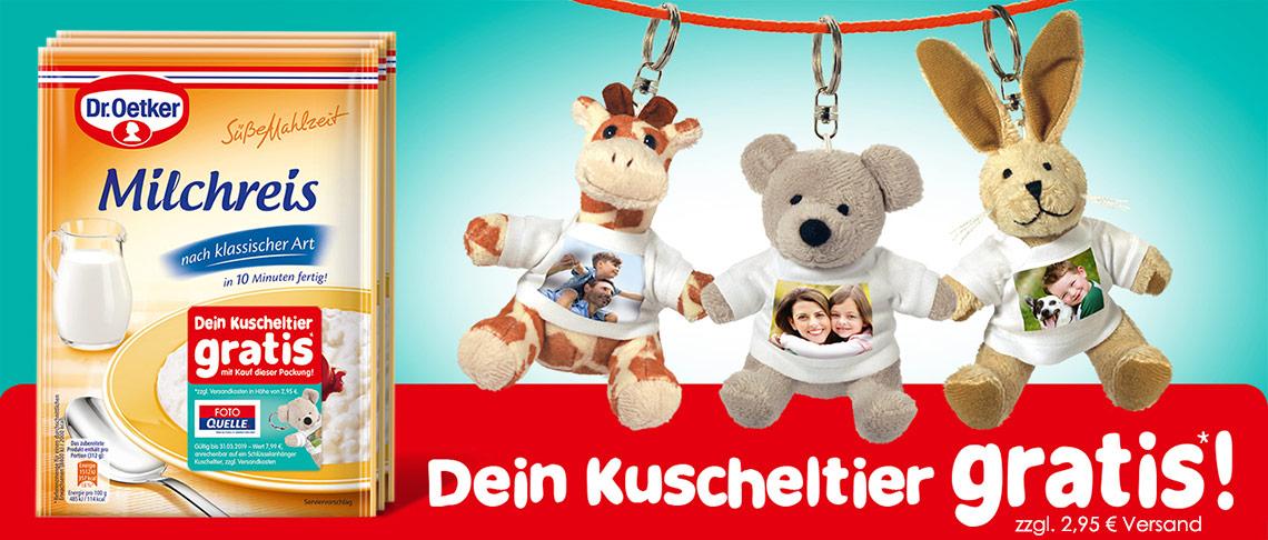 Kuscheltier Schlüsselanhänger mit personaliertem Foto + Dr. Oetker Süße Mahlzeit Milchreis nach klassischer Art (125 g) für ca. 2€ bei Abholung in einem Quelle Foto Shop