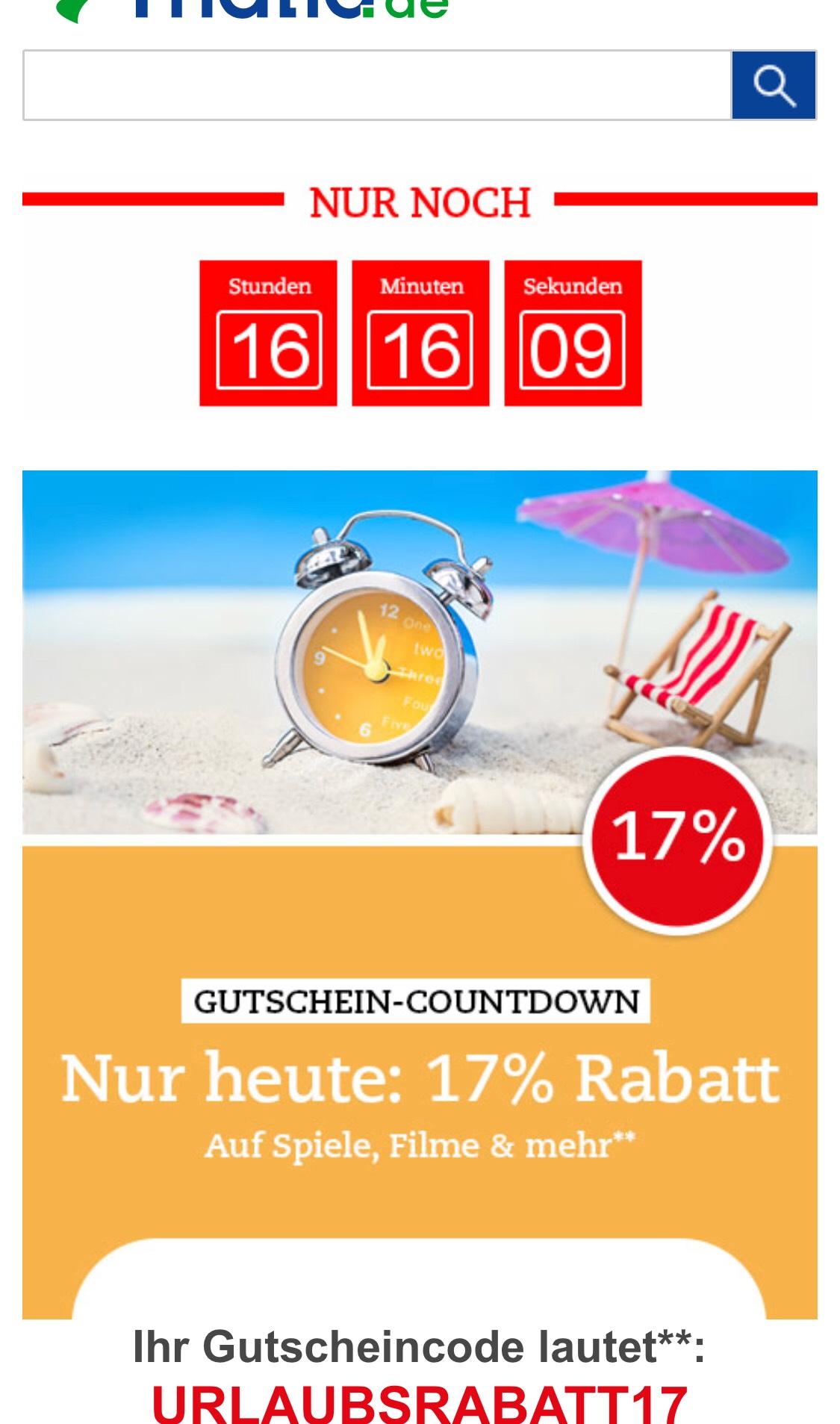 17% Rabatt bei Thalia.de auf Spiele, Filme etc.