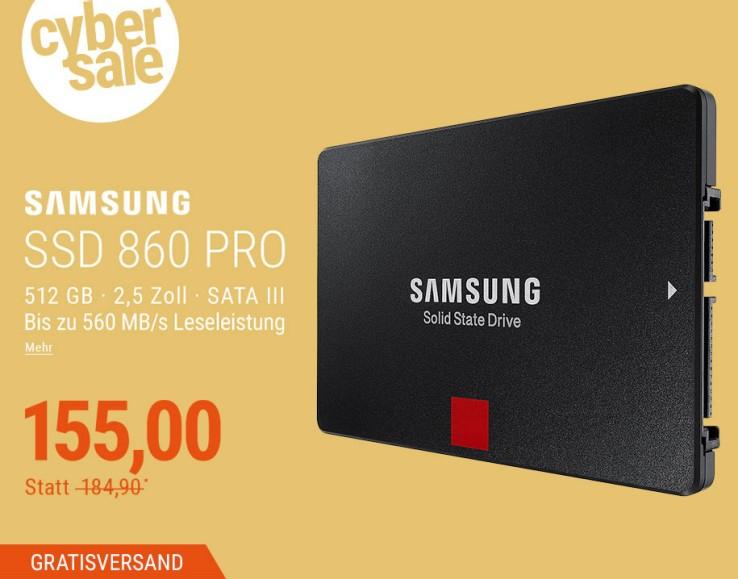 Samsung SSD 860 PRO Series 512GB im Cybersale (200 Stück)