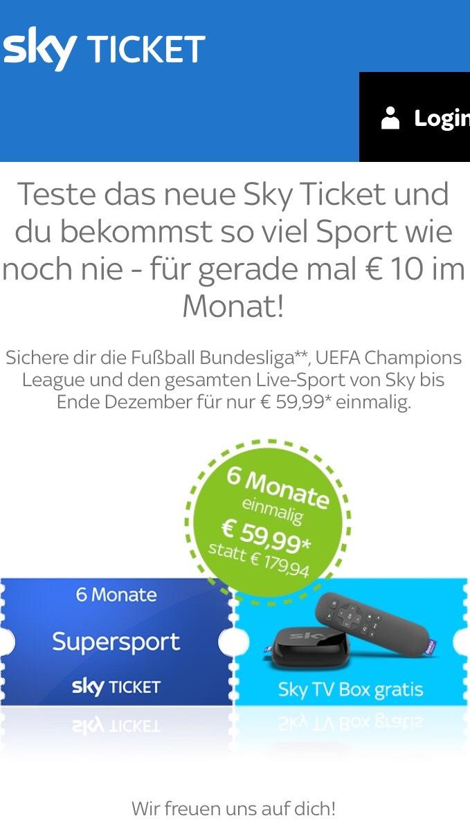 Sky Bundesliga und Sport 10 EUR monatlich MLZ 6 Monate