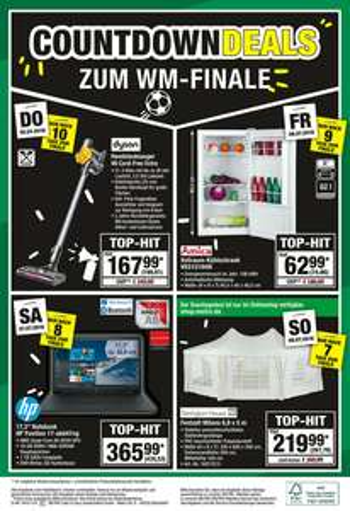 (LOKAL Metro) WM Countdown Deals Amica Kühlschrank VKS15194W (06.07.) / Dyson V6 Cord-Free Extra (05.07.)