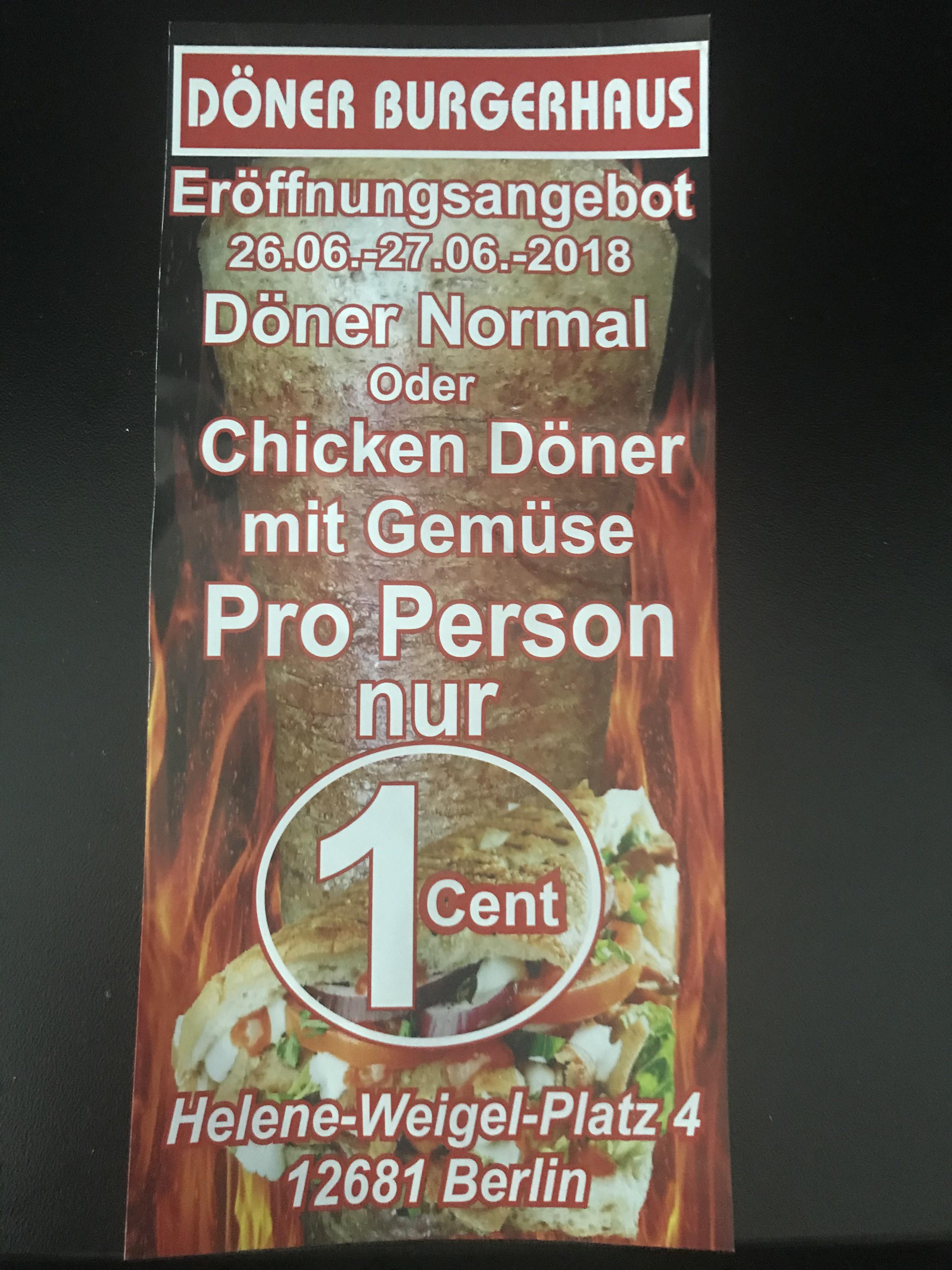 [Berlin-Marzahn] Döner für 1 Cent Chicken/Normal
