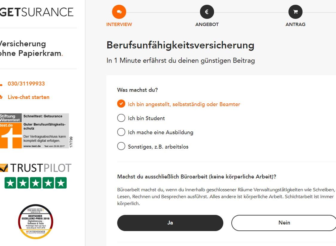 25€ sofort + 75€ nach drei Monaten bei BU Versicherung [Getsurance]