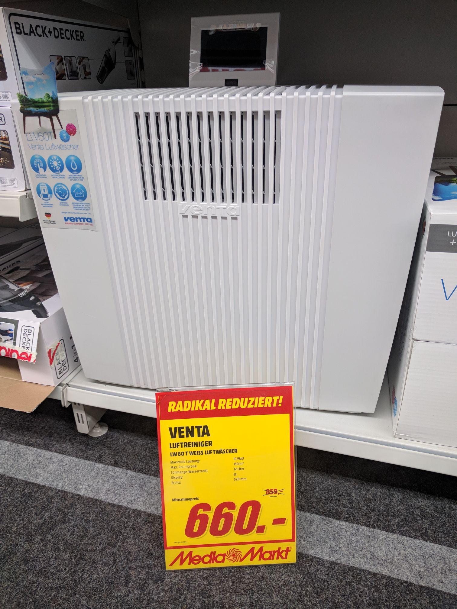 [Lokal] Media Markt Frankfurt Borsigallee: Venta LW 60T WiFi Weiss Luftwäscher, Luftbefeuchtung und Luftreiniger
