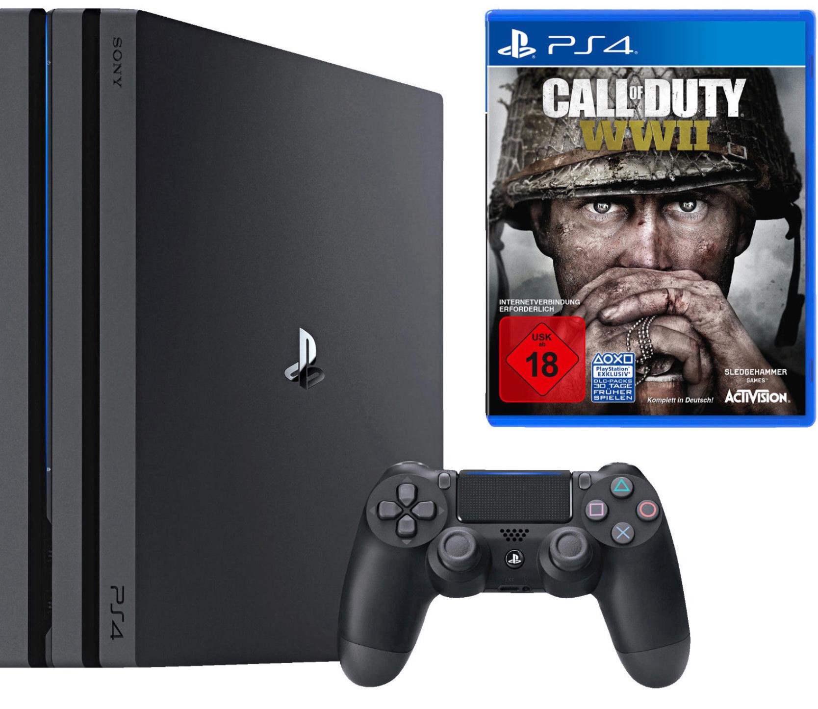 [ebay] SONY PlayStation 4 Pro 1TB Schwarz + Call of Duty WWII + That's You Voucher für 377€ bzw. 339,30€ (mit Umzug nach AU)