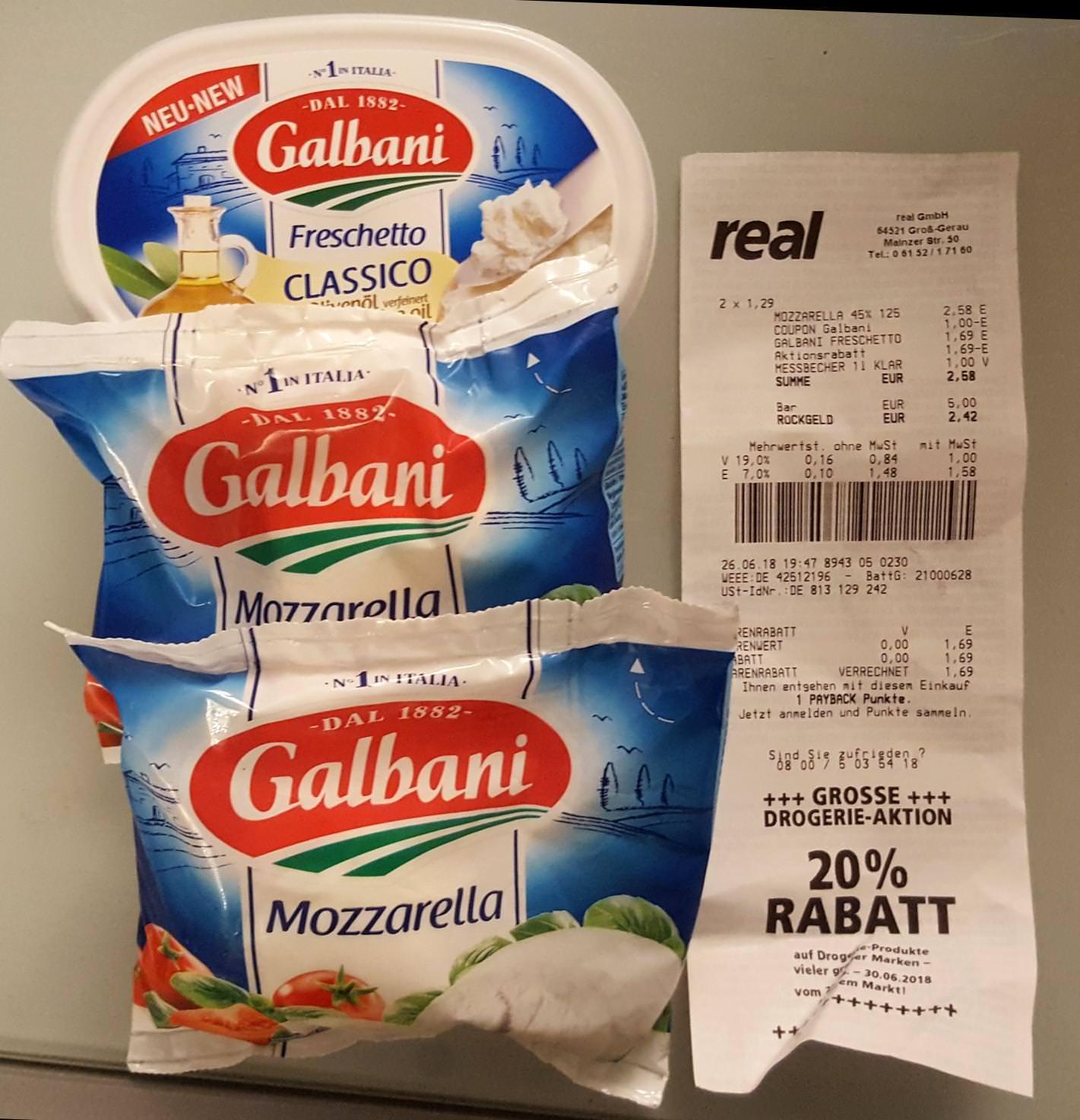 [Real] 2x Galbani Mozzarella 125g + 1x Freschetto 150g für 1,58€ (Angebot+Aktion+Coupon)
