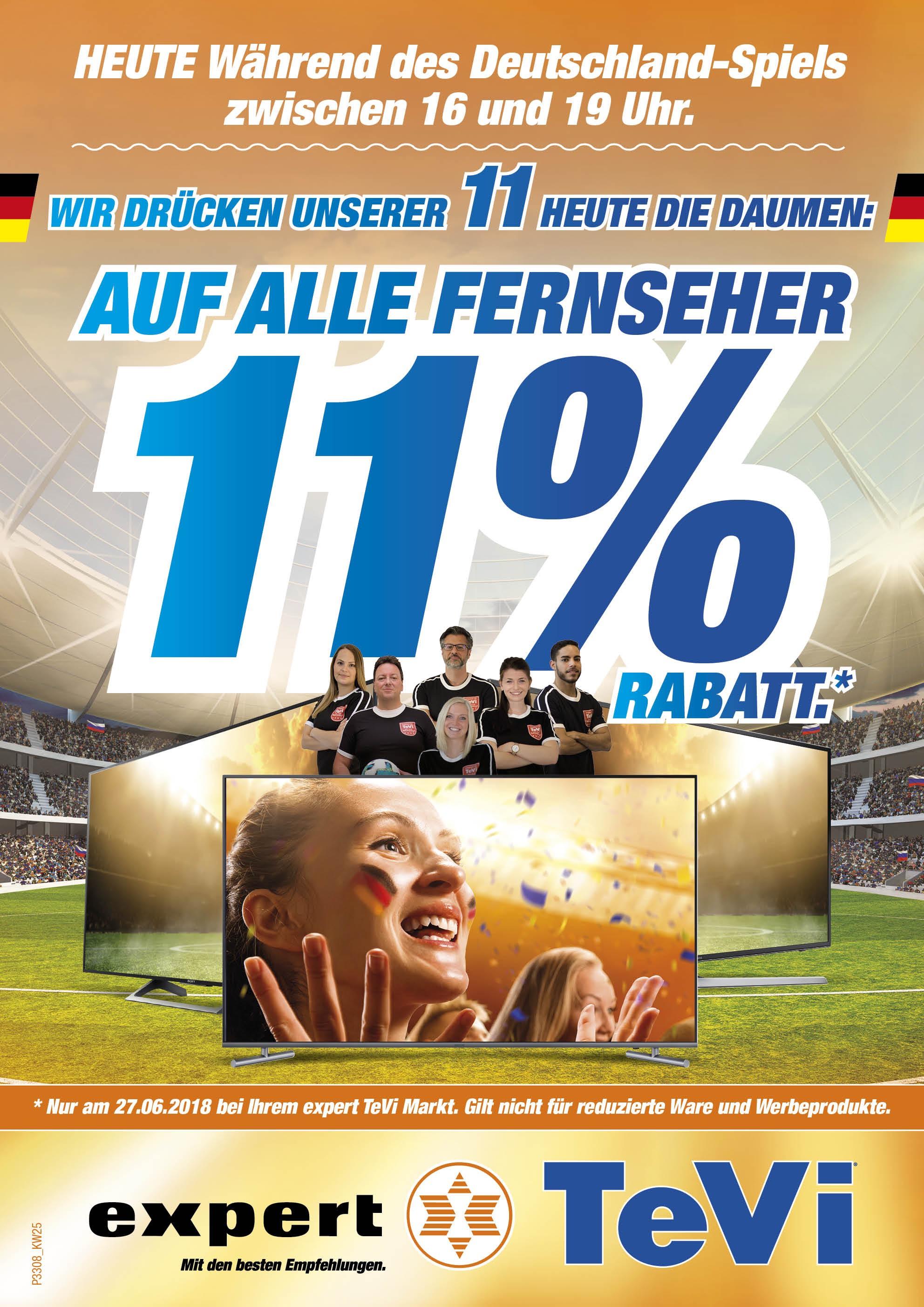 Lokal Sammeldeal 11% auf alle lagernden TV Geräte zum Deutschland Spiel
