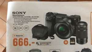[SATURN] SONY Alpha 6000 Kit Systemkamera, 24.7 Megapixel, 2x opt. Zoom, Full HD, Exmor APS-C Sensor, Externer Blitzschuh, Near Field Communication, WLAN, 16-50 mm, 55-210 mm Objektiv, Autofokus, Schwarz