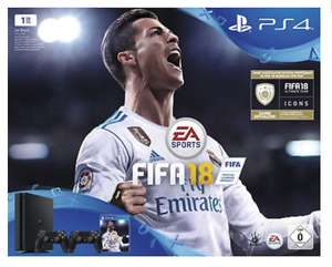 SONY PlayStation 4 (PS4) Slim 1TB Schwarz + FIFA 18 + 2. DualShock4 Controller + PS Plus 14 Tage