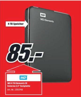 [Regional Mediamarkt-Berlin Tegel ab 28.06] Western Digital Elements SE externe Festplatte 2,5 4TB USB 3.0 (Schwarz) für 85,-€