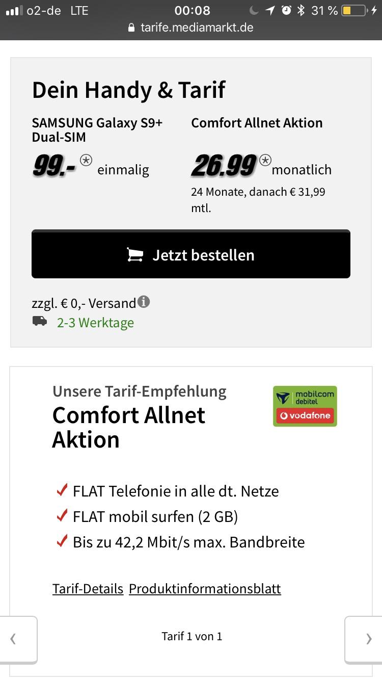Samsung S9+ dual Xbox One X Vodafone Allnet Comfort effektiv kostenlos