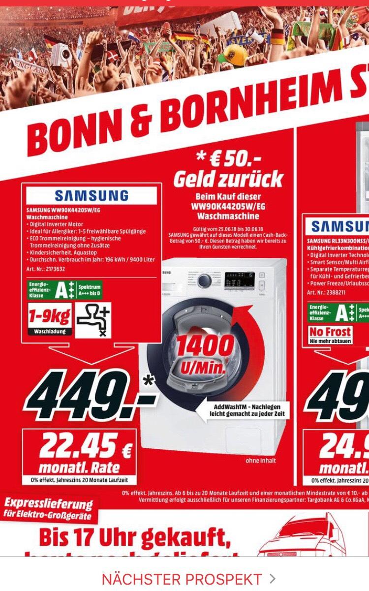 [LOKAL BONN] Media Markt Samsung WW 90 K 44205 W/EG Waschmaschine für effektive 449 € (499 € VP - 50 € Cashback)