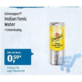 Eine Dose Schweppes Indian Tonic Water (0,33l) für 0,59€ bei Aldi Süd (-0,35€ Marktguru Cashback, eff. 0,24€) am Samstag, den 30.06.2018
