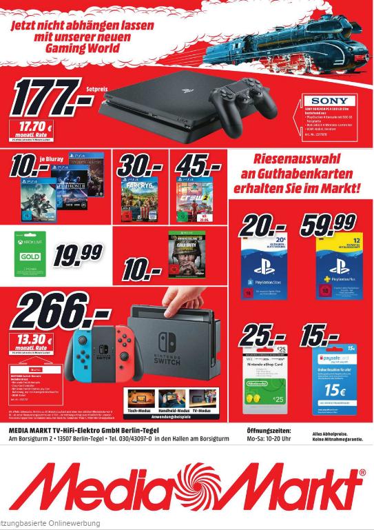 [MediaMarkt Berlin-Tegel] PS4 Slim für 177€, Nintendo Switch für 266€ und weitere Angebote