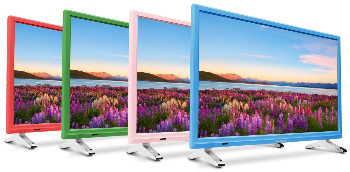 [amazon] Medion P13500 - 21,5 Zoll Full HD Fernseher (1920x1080, 1x HDMI, 1x USB 2.0, CI+ 1.3, Triple Tuner, DVB-T2 HD, USB, HDMI, CI+, Mediaplayer) in grün, blau, rosa oder rot