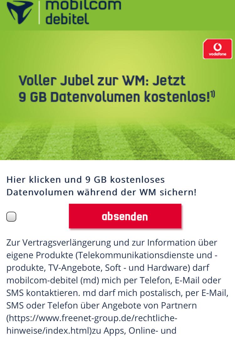 Zusätzlich 9GB Datenvolumen während der WM [Mobilcom Debitel Vodafone]