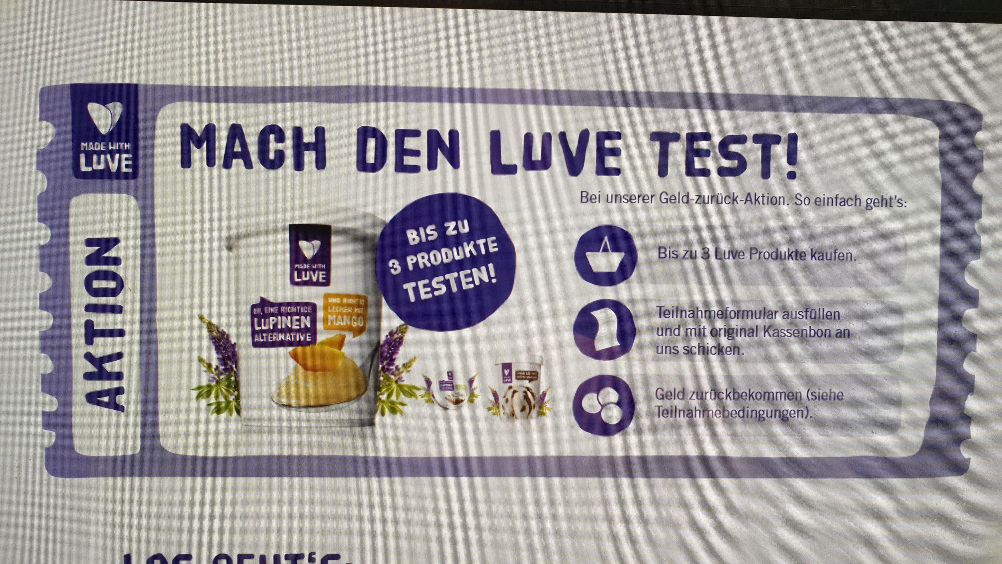Geld zurück Garantie / 3 Lupinenprodukte gratis testen