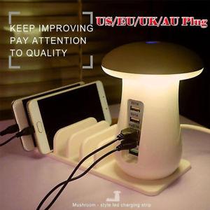 [Ebay, China] USB-Ladegerät in der Pilz-Leuchte für 23,77 AUD = 15,50 Euro: 5 Ports/30 Watt/QC 3.0