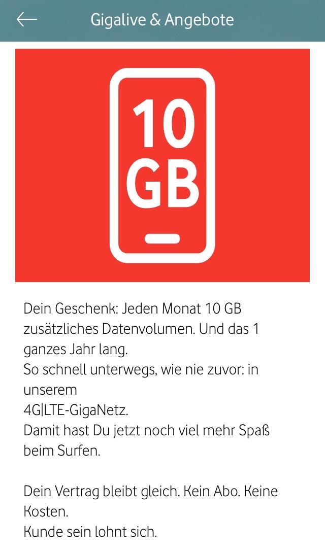 Vodafone Junge Leute 10GB pro Monat kostenlos