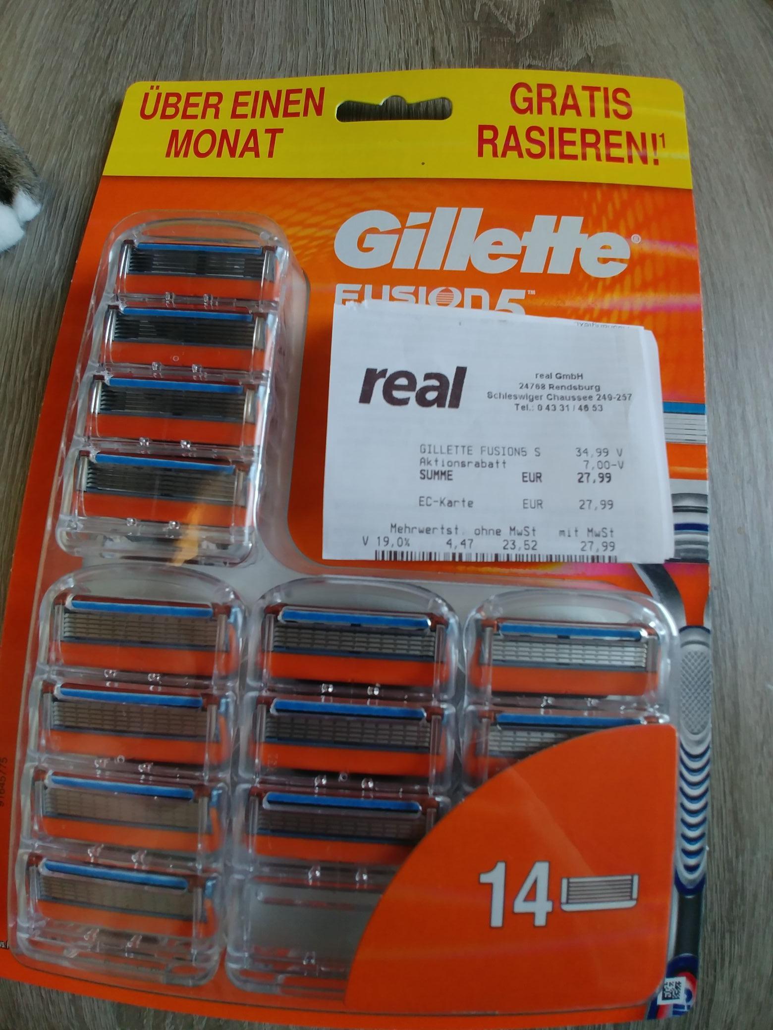 Gillette Fusion 5 Klingen - 14 Stück bei real  (Bundesweit)