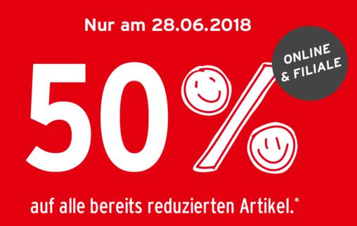 50% Rabatt auf den gesamten Sale nur heute 28.06.2018 (on/offline) *für alle*