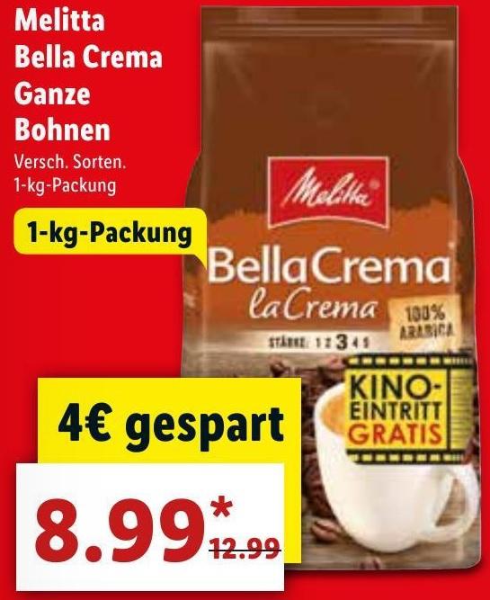 Melitta Bella Crema Kaffebohnen + Kino Gutschein für 8,99€ [ LIDL / EDEKA* / Marktkauf* Bundesweit 02.07 - 07.07 ]