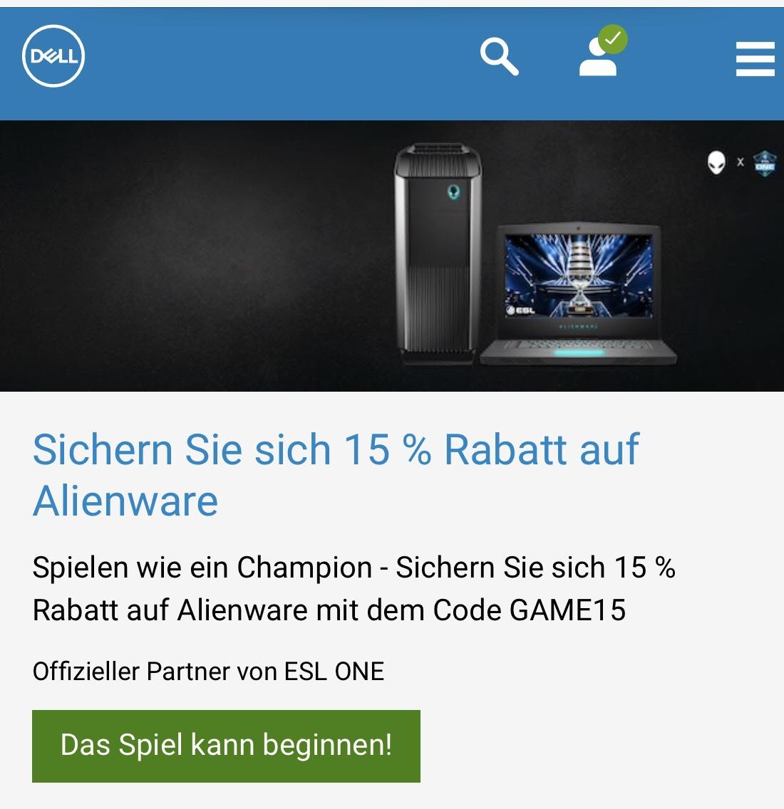 15% Rabatt auf alienware Produkte bei Dell