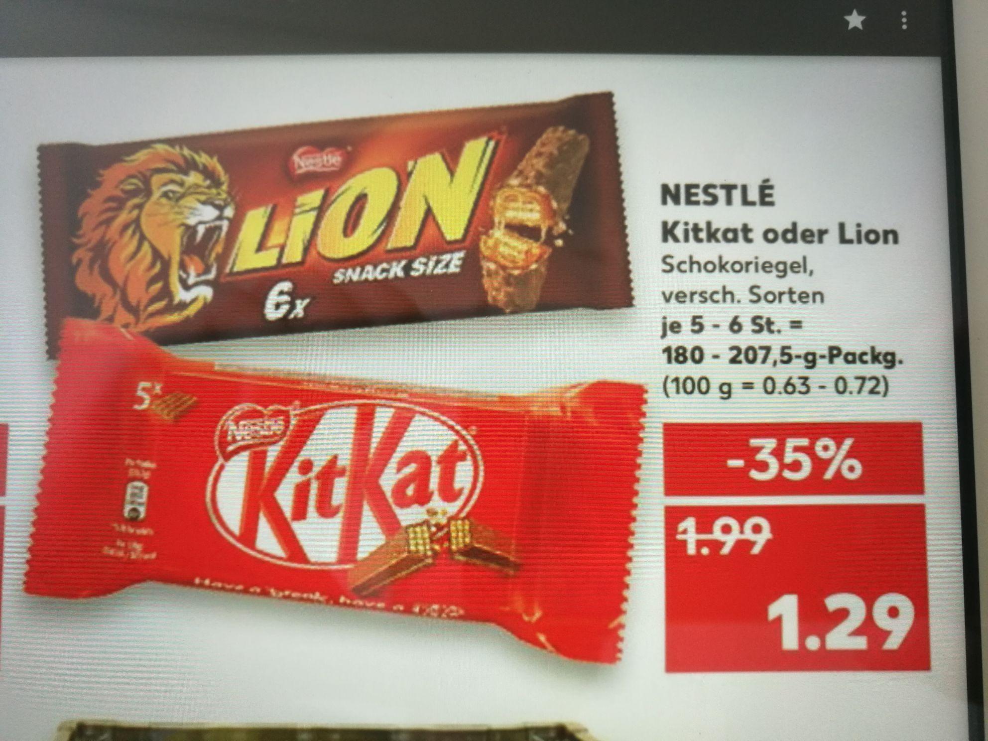 [Kaufland] Nestle 6er Lion, 5er KitKat, 5er Chunky, 6er Nuts Schokoriegel