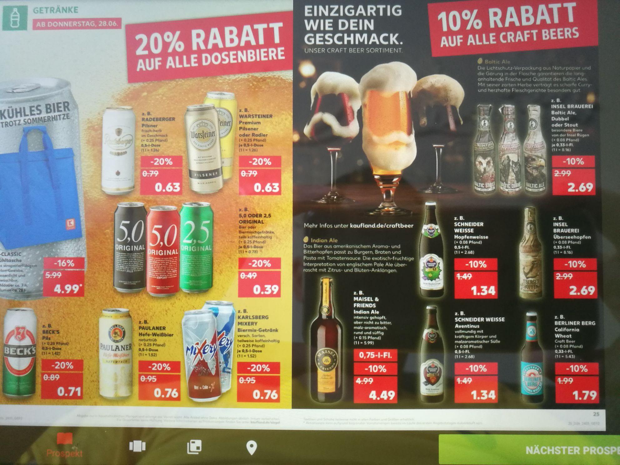 [Kaufland] 20% auf Dosenbiere und 10% auf Craft Biere