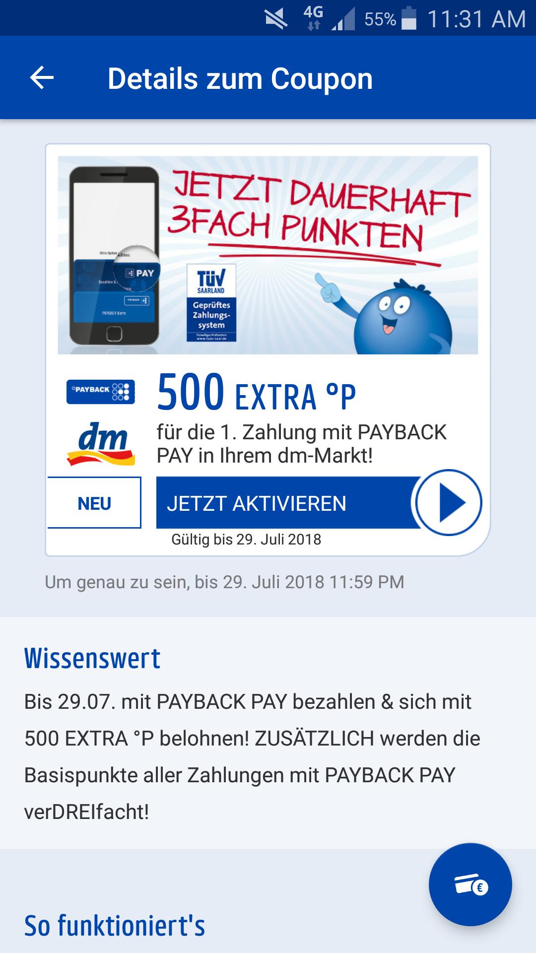 500 Paybackpunkte [5€] geschenkt für die 1. Zahlung mit Payback Pay