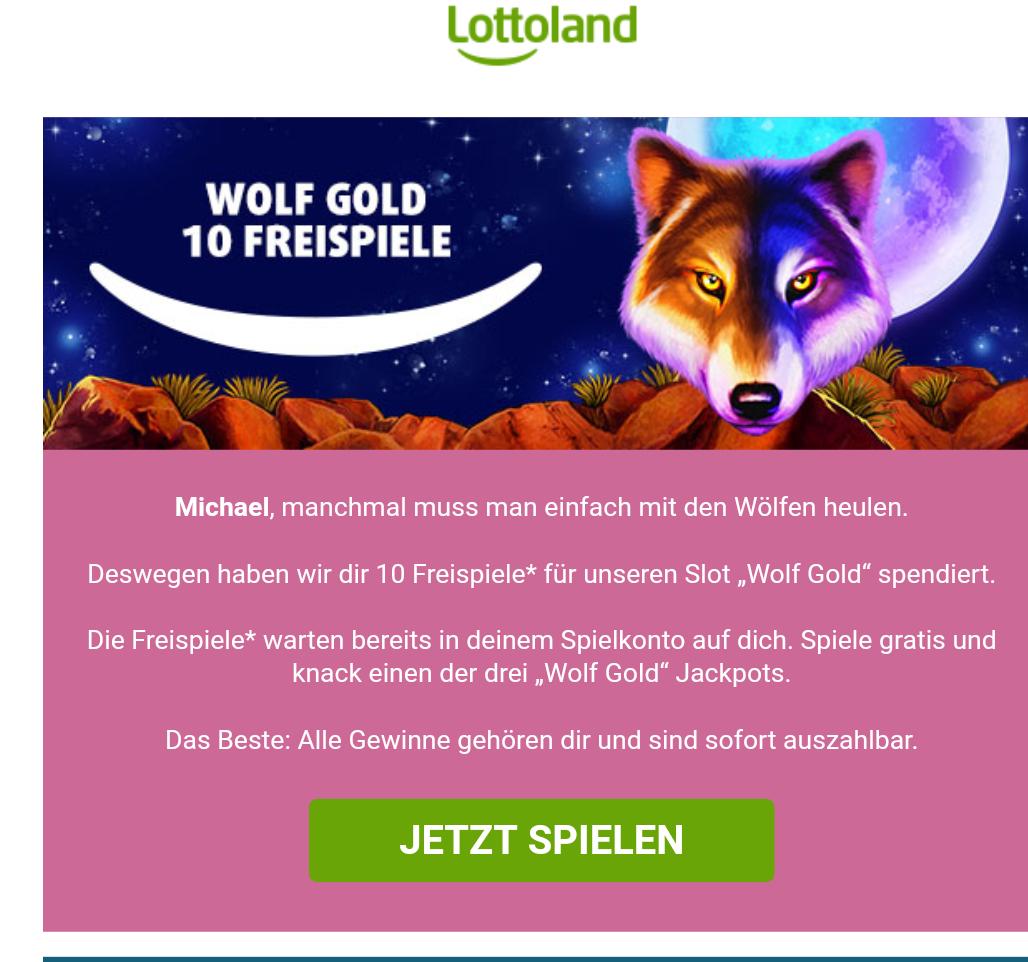 Lottoland Freispiele Wolf Gold - eingeladene Nutzer