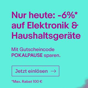 [eBay] 6% Gutschein auf die ganze Elektronik und Haushaltsgeräte Kategorie am 30.06.