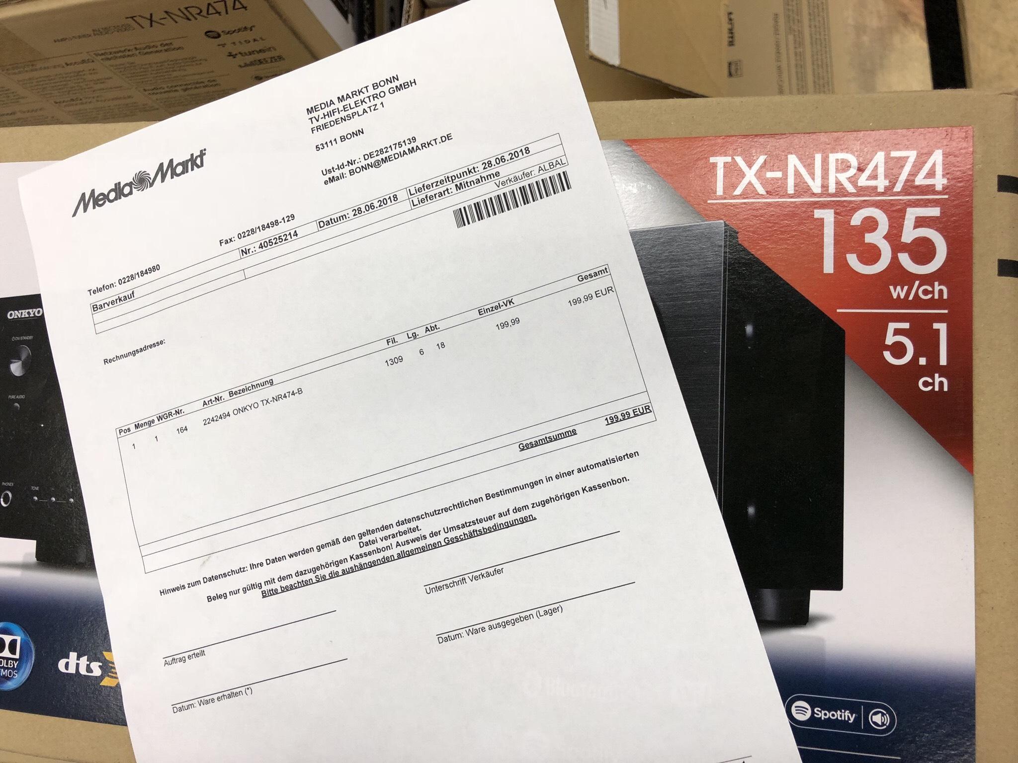 (Lokal Media Markt Bonn) ONKYO TX-NR474-B