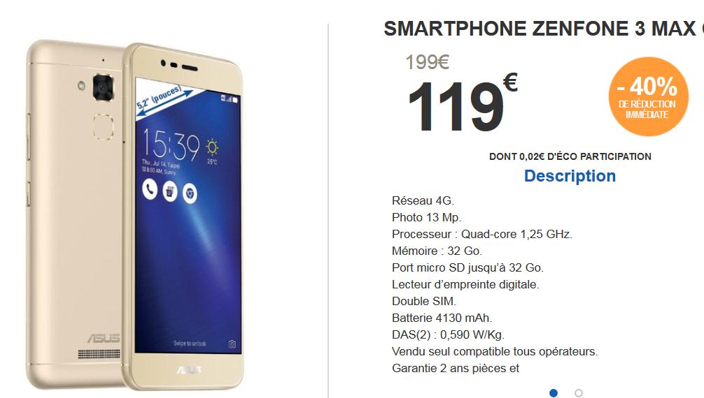 [Grenzgänger Frankreich] Asus Zenfone 3 Max Gold Smartphone für 119 € bei E.Leclerc