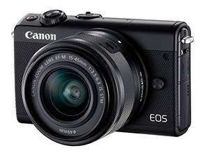 [Amazon oder Mediamarkt] Canon EOS M100 Systemkamera (24,2MP, 7,5 cm (3 Zoll) Display, WLAN, NFC, Bluethooth, Full HD) Kit mit EF-M 15-45 mm f/3.5-6.3 IS STM schwarz + 50€ Cashback