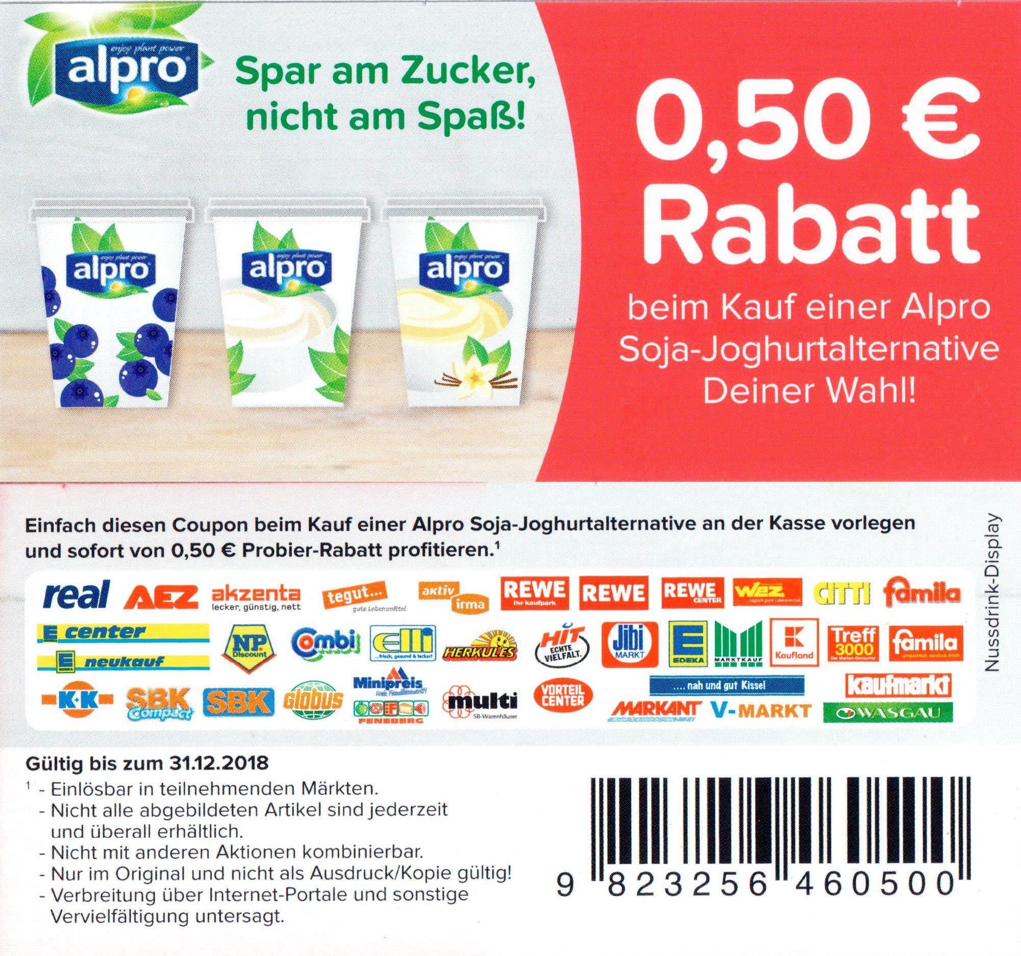 Neuer -0,50€ Coupon für Alpro Soja-Joghurtalternativen (alle Sorten)
