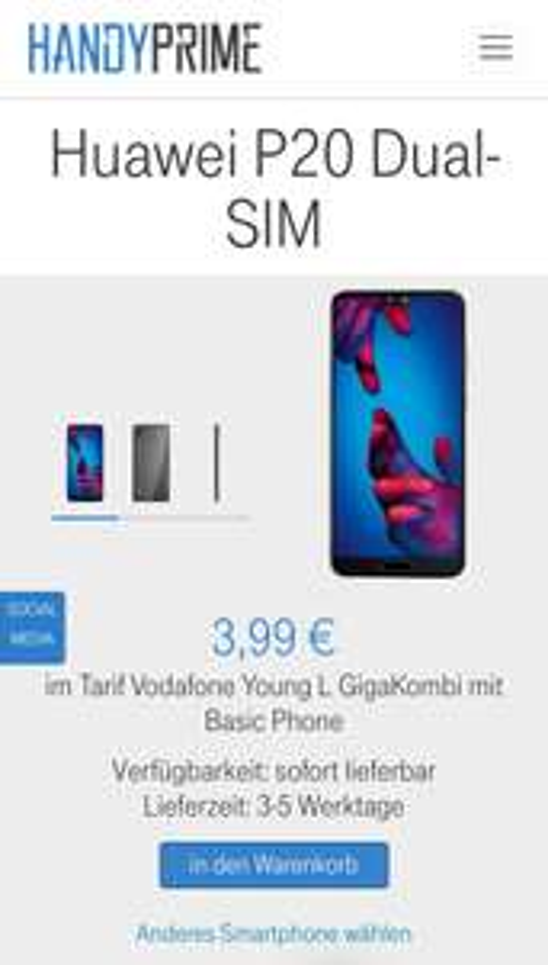 Vodafone Young L Basic Phone mit GigaKombi & Huawei P20 128GB DualSim für eff. 30,70€ mtl. mit 18GB LTE