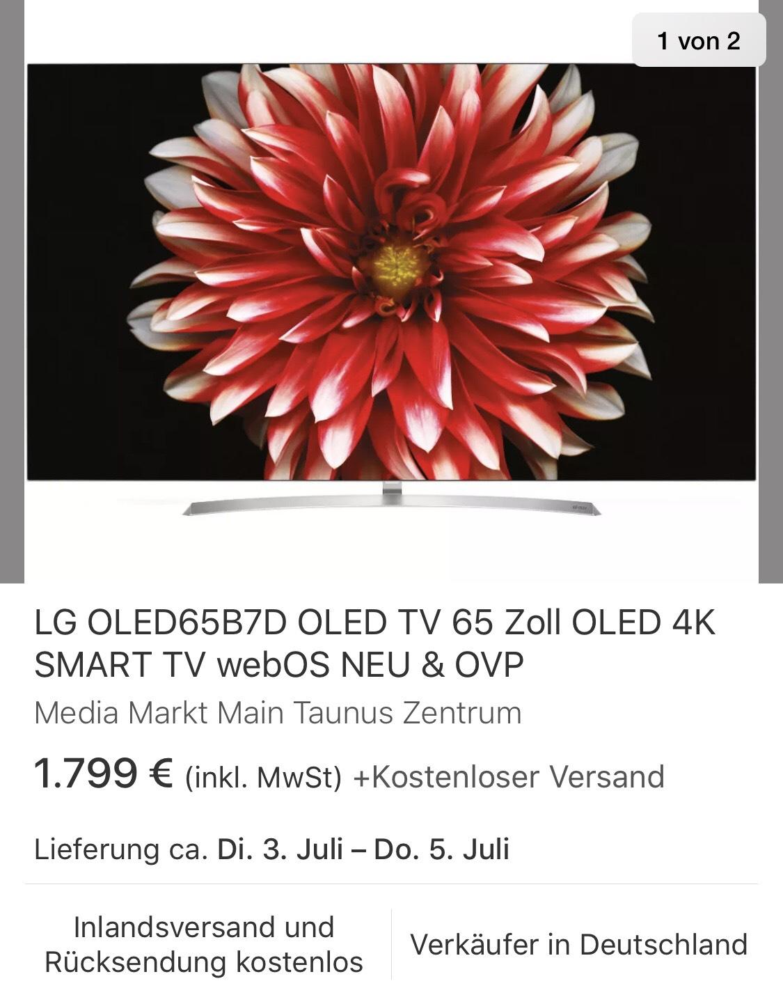 LG OLED65B7D OLED TV 65 Zoll 4K SMART TV für 1.799,-€ LG OLED55B7D für 1.199,-€ [eBay, Media Markt Main Taunus Zentrum]