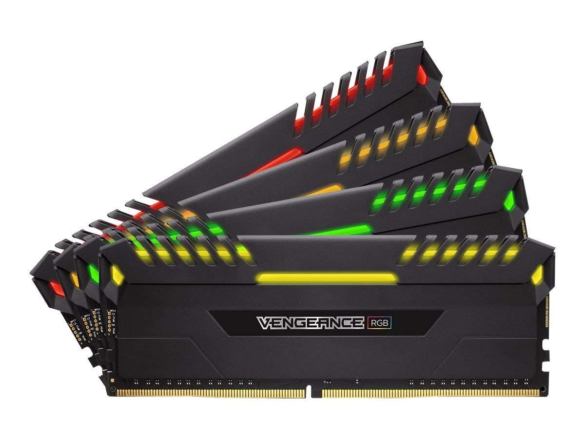 Arbeitsspeicher Corsair Vengeance RGB schwarz DIMM Kit 32GB (4x8GB), DDR4-3200, CL16-18-18-36 (CMR32GX4M4Z3200C16)
