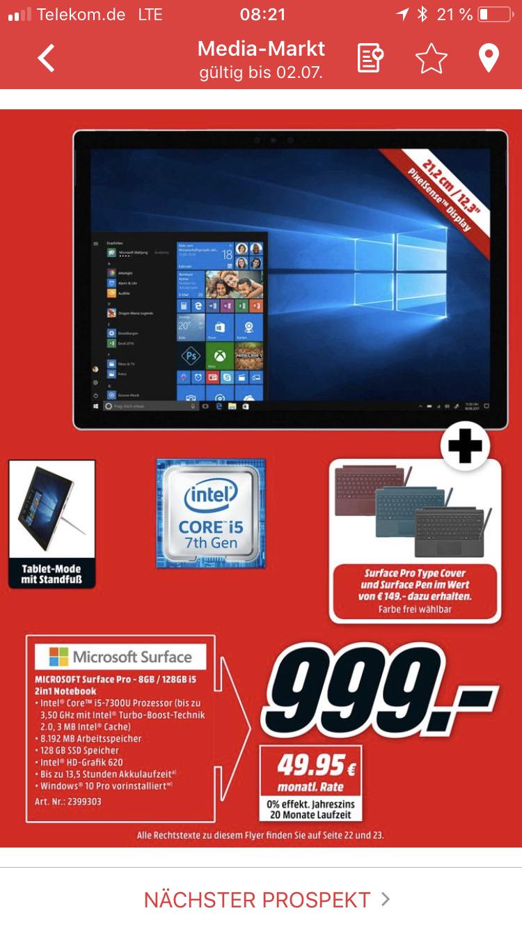 Microsoft Surface i5 8GB und 128GB inklusive Zubehör