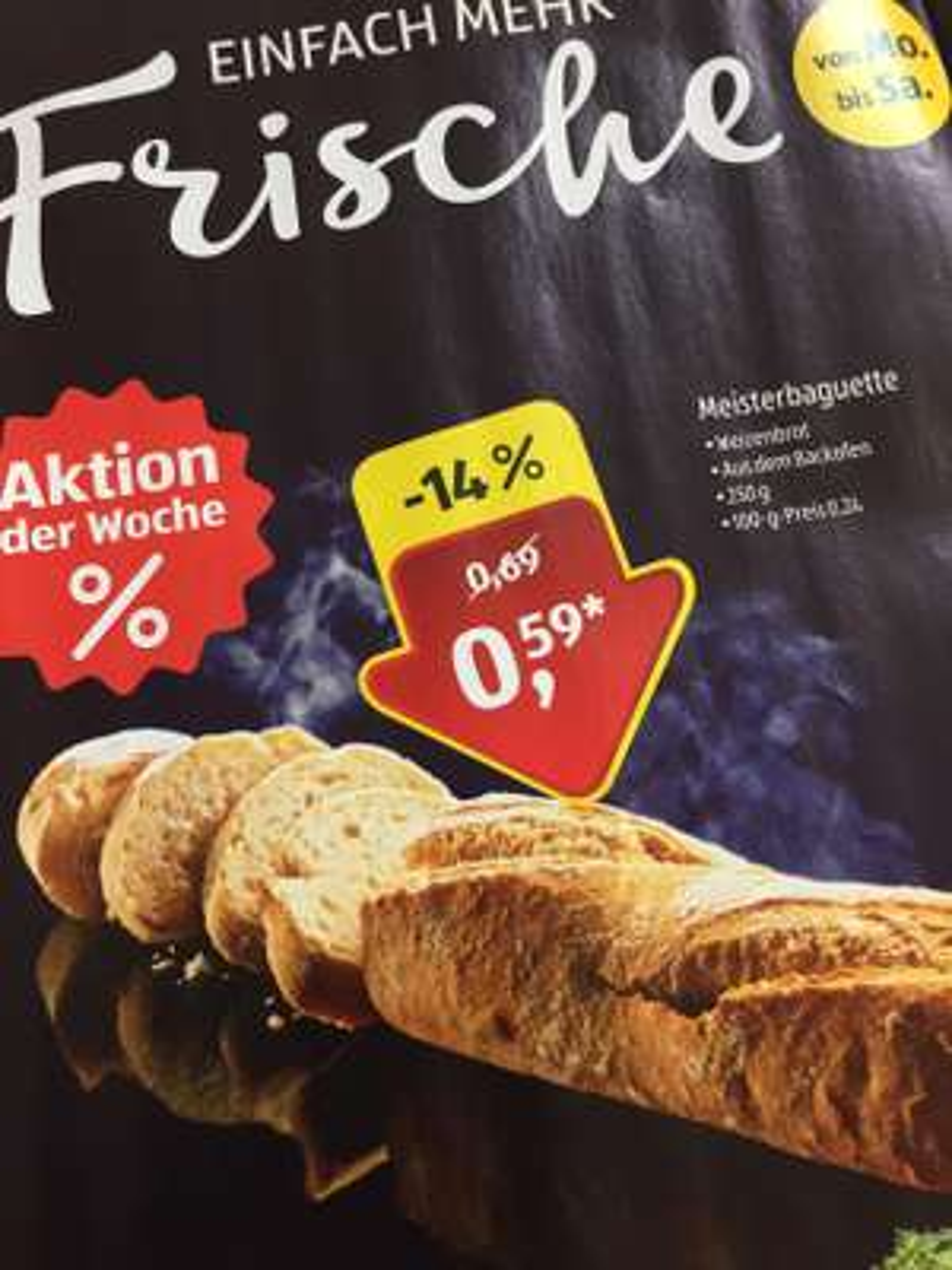 Meisterbaguette 250g 0,59€ ab 09.07-14.07 bei Aldi Süd