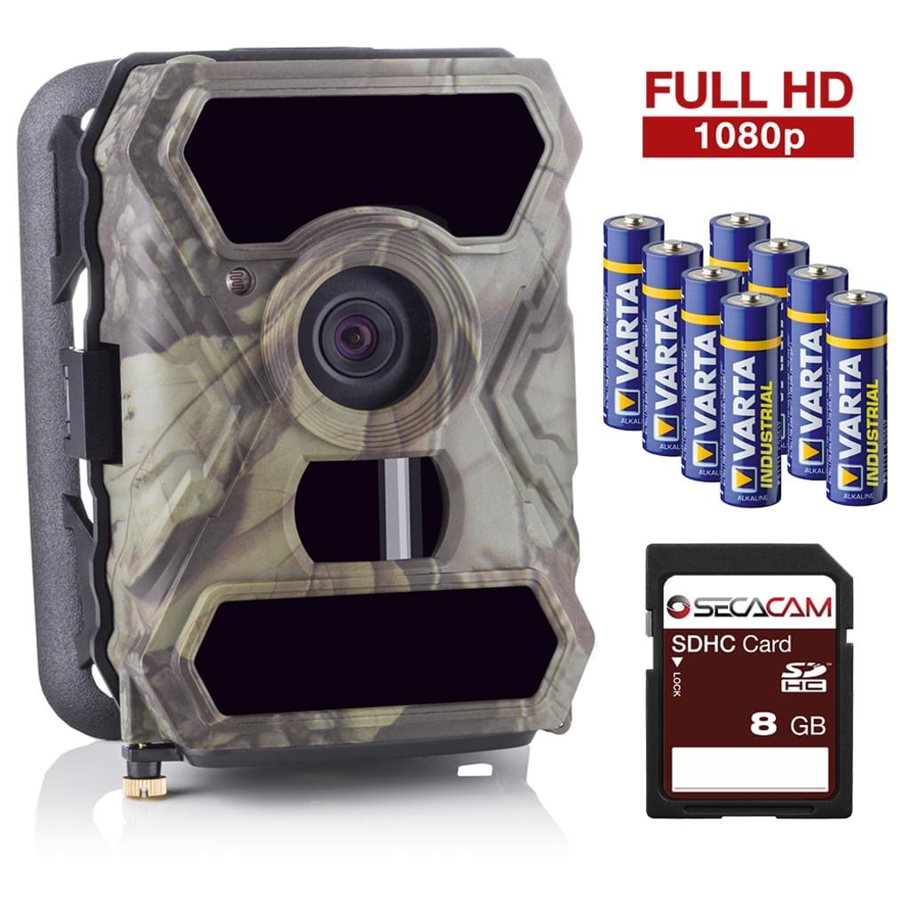 Wildkamera SecaCam HomeVista (Full HD, 100° Weitwinkel, Tag-/Nachtsicht, wasserdicht, Bewegungsauslösung, Bildschirm, batteriebetrieben)