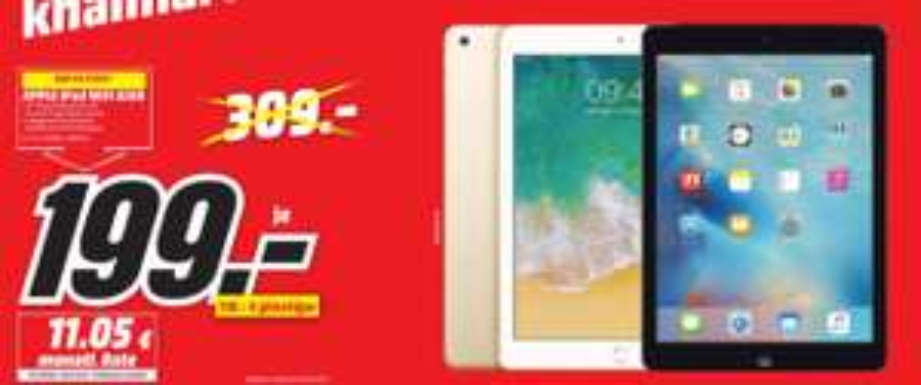 [Regional Mediamarkt Pirmasens-Sonntagsangebote] Zb....Apple iPad (2017) 32GB WiFi spacegrau/ und Gold für je 199,-€ (40 Stück vorhanden]// Samsung Galaxy S8 für 399,-€ (40 Stück vorhanden) //Gratis Currwurst....