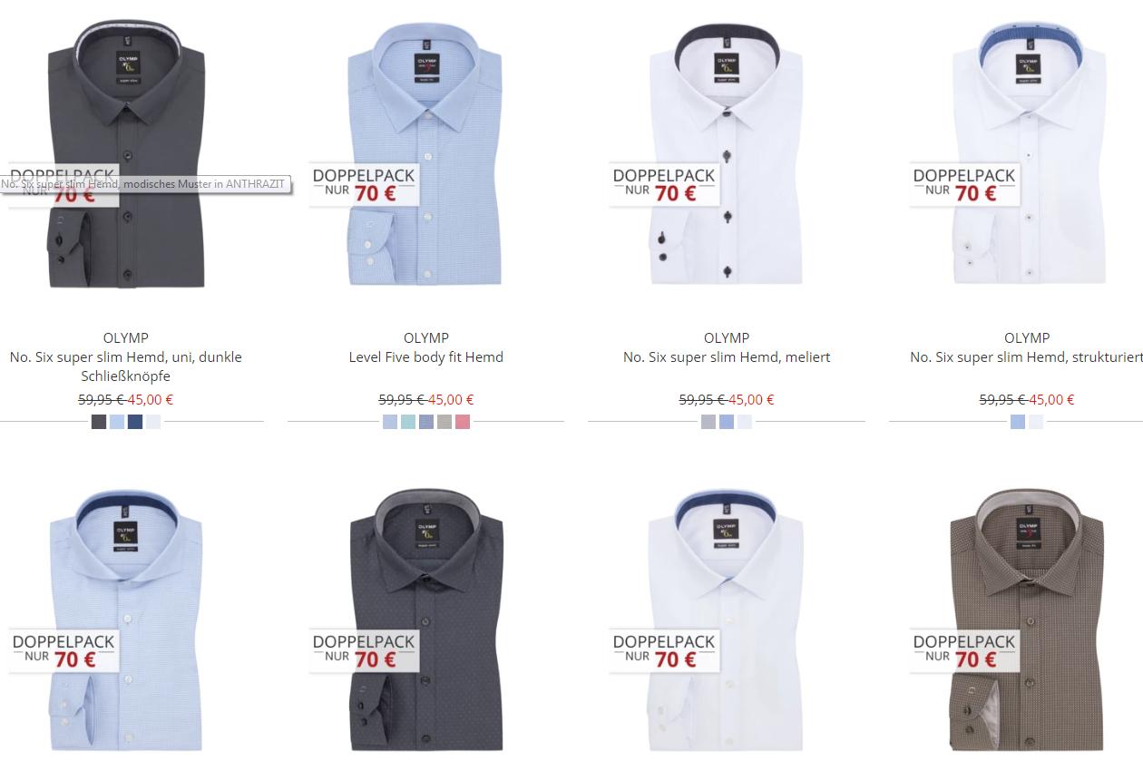 Große Auswahl an Olymp Hemden - 3x Hemden 95€ - 31,66€ pro Hemd inkl. Versand (Luxor, Level 5, No. 6)