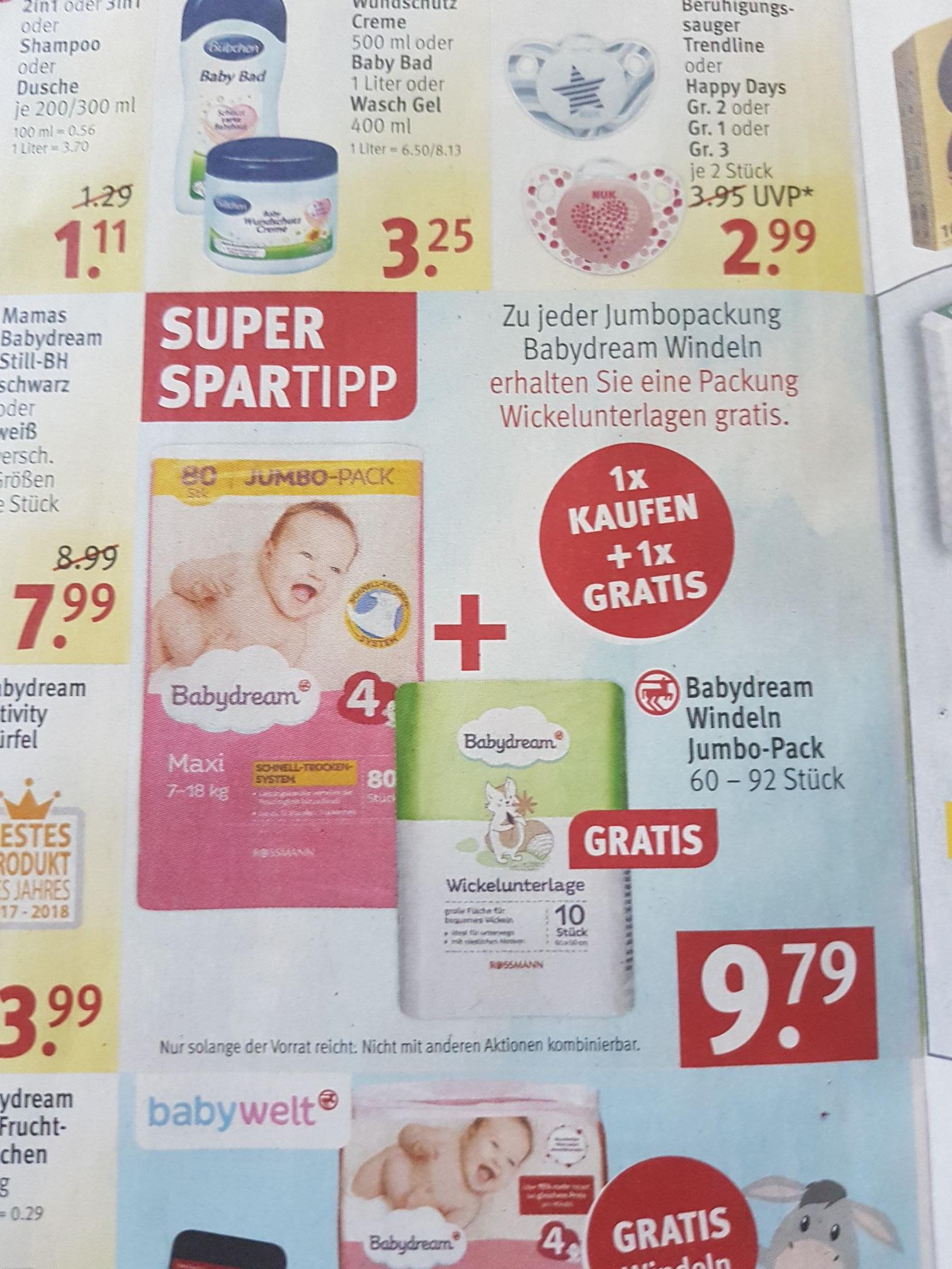 [Rossmann] Gratis Wickelunterlagen beim Kauf von Babydream  Windeln
