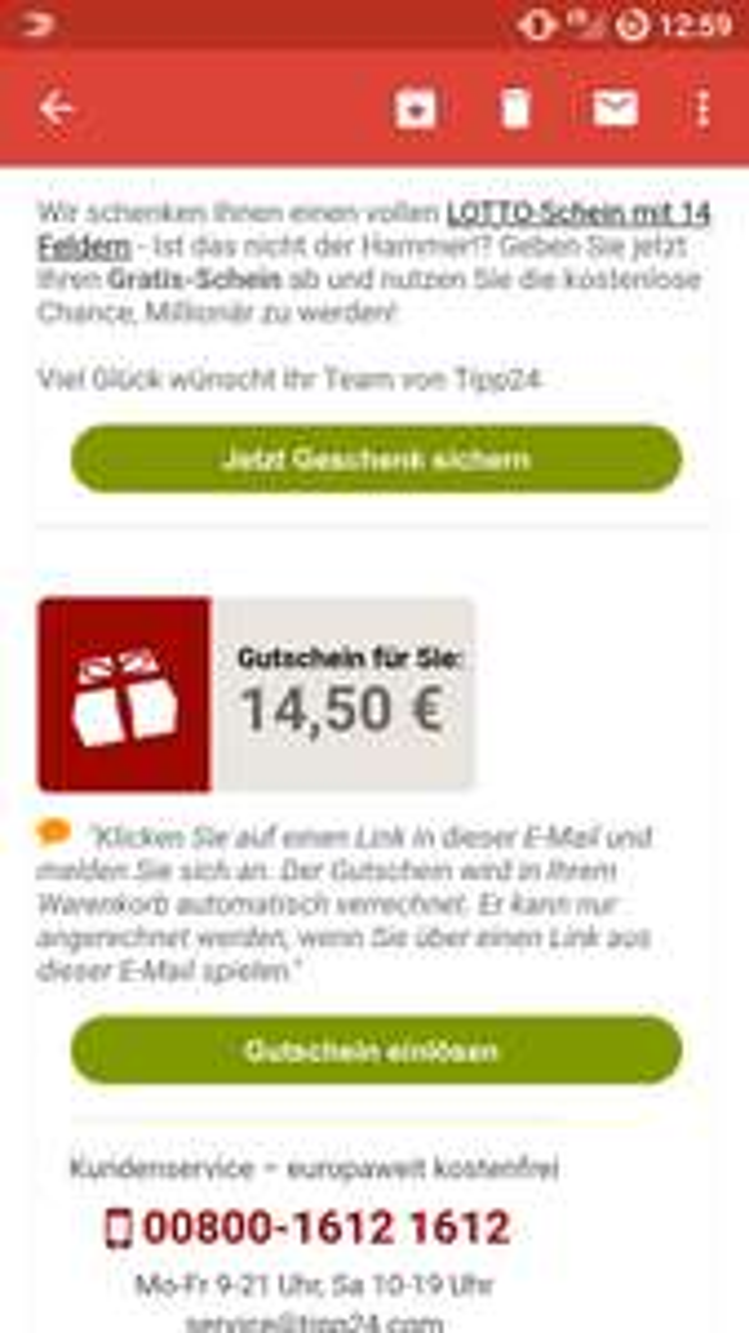 Tipp24 - Für 14,50€ kostenlos Lotto spielen