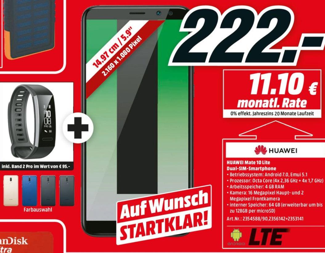Huawei Mate 10 Lite inkl. Band 2 Pro für 222€ im Media Markt Berlin-Tegel