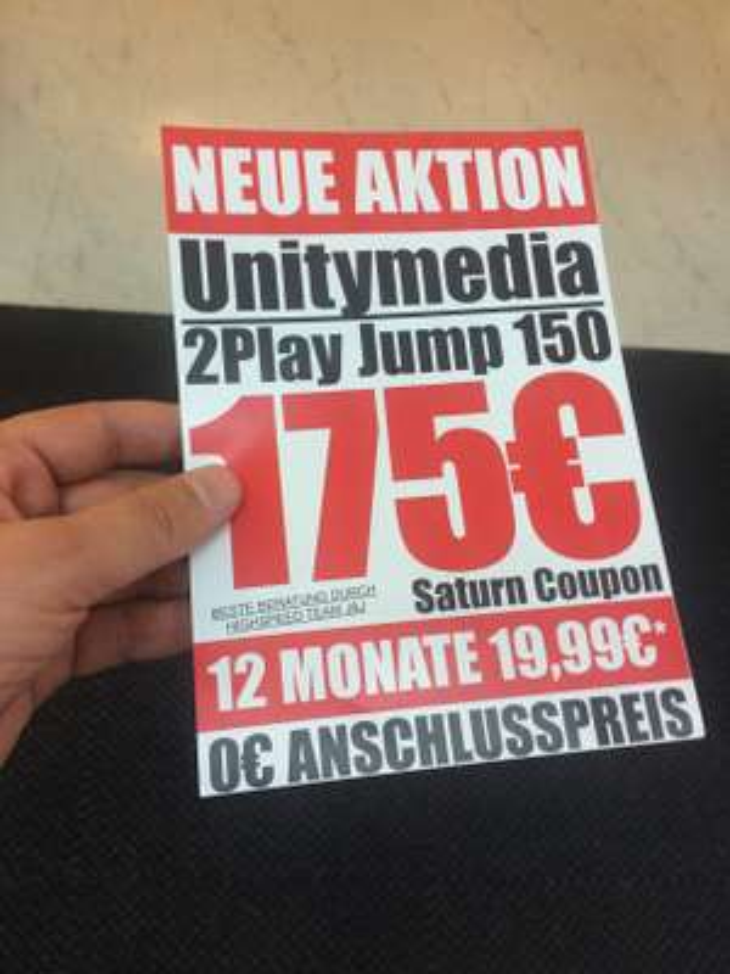 Unitymedia Aktion - 0€ Anschlusspreis und 175€ Saturn Coupon - 12 Monate 19,99€ - 2Play Jump 150 (Lokal)