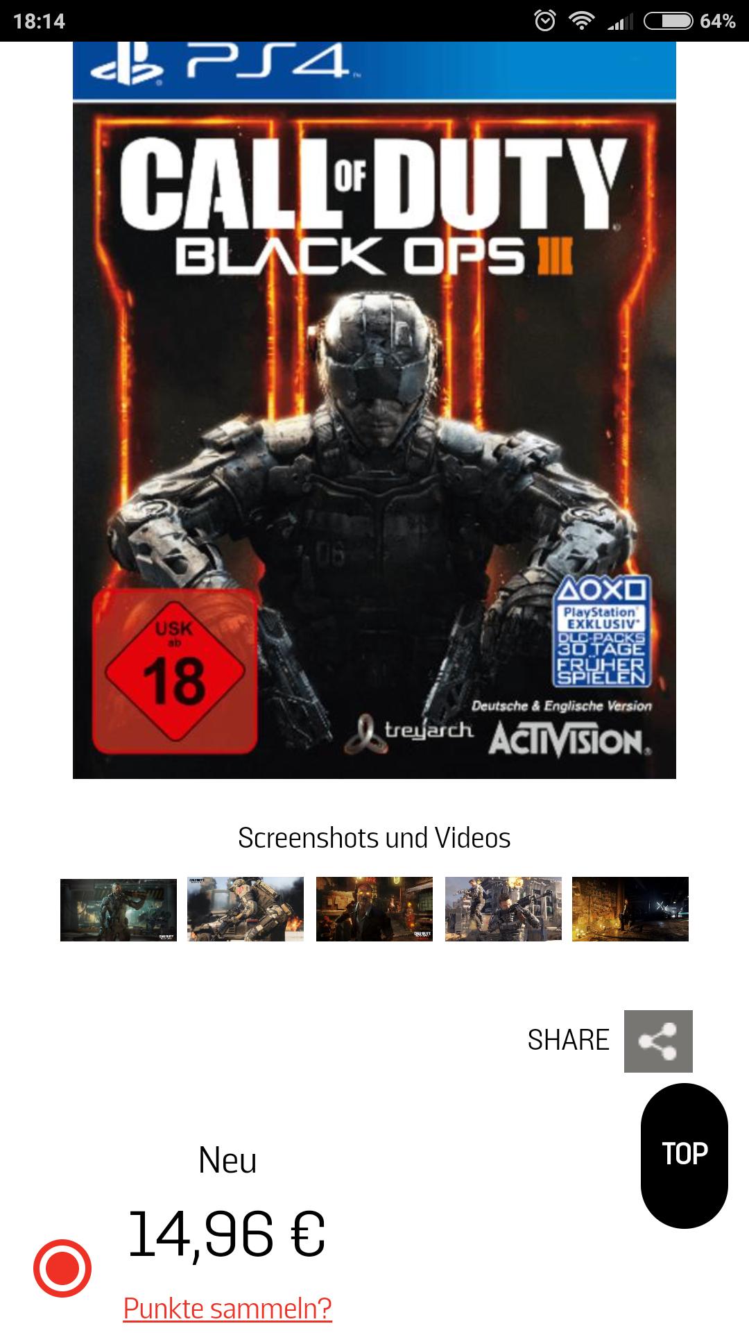 (Gamestop) Call of Duty Black Ops 3 PS4 für 14,96€ bei Marktabholung